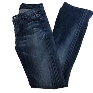 7 For All Mankind Distressed Mid Rise Faded Jeans